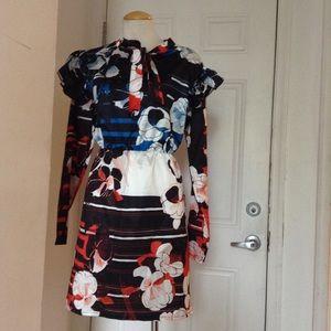 Dresses & Skirts - Multi Color Floral Vintage Necktie Ruffle Dress